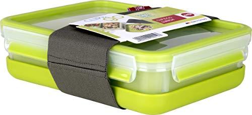 Emsa Lunch- und Snackbox mit 3 praktischen Einsätzen und Deckel, Inklusive separatem Teller und Fixierband, Volumen: 1,2 Liter, Transparent/Grün, Clip & Go, 518098 (Glas-brot-box)