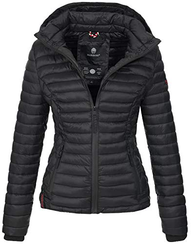Marikoo Damen Jacke Steppjacke Übergangsjacke mit Kapuze gesteppt B600 [B600-Samt-Schwarz-Gr.XXL]