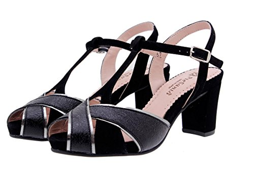Scarpe donna comfort pelle PieSanto 1258 Sandali Tacco larghezza speciale Negro