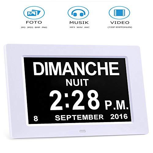 """Demenz-Tagesuhr, Gedächtnisverlust Digitalkalender-Tagesuhr, mit extra großem nicht abgekürztem Tag u. Monat. Perfekt für Senioren (8\"""" white)"""