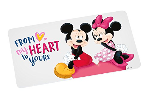Disney Mickey Mouse Brettchen Mickey My Heart 23, 5x14cm Frühstücksbrett Melamin, Weiß-bunt, 5 x 14 x 0,5 cm