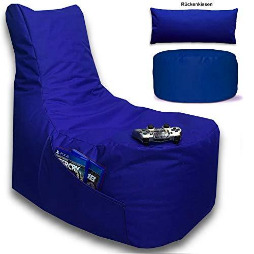 Sitzsack 3er Set Big Gamer Sessel mit EPS Sytropor Füllung - Rückenkissen - Hocker - In & Outdoor Sitzsäcke Sessel Kissen Sofa Sitzkissen Bodenkissen (Big Gamer Sitzsack 3er Set Uni Farbe, Blau)