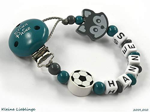 Schnullerkette mit Namen Jungen Fuchs Fußball - Kleiner Prinz - handmade - viele Varianten - petrol grau weiß - Silikonring möglich (Petrol)