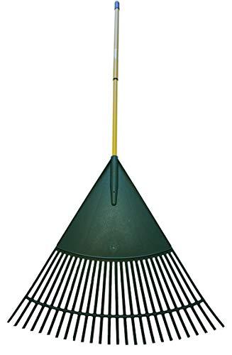 Novatool Laubrechen XXL 80 cm grün Teleskopstiel Laubbesen Laubharke Fächerbesen Rechen Laubfeger Laubfächer (1, 80 cm)