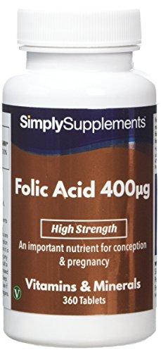 Acide folique (Vitamine B9) 400mcg 360 Comprimés, Approvisionnement de 12  Mois, Vitamine 0b11f250cb9