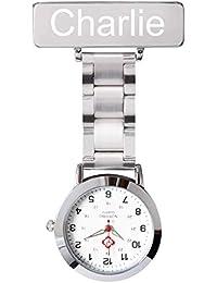 Posh Latitude Personalised Engraved Nurses Watch Hanging Medical Pocket Watch Men Women Quartz Hanging Doctor Pocket Watches Nurses Fob Watch in a Velvet Pouch(Medium, Silver)