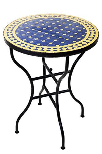 ORIGINAL Marokkanischer Mosaiktisch Bistrotisch ø 60cm Groß rund klappbar | Runder kleiner Mosaik Gartentisch Mediterran | als Klapptisch für Balkon oder Garten | Marrakesch Blau Gelb 60cm