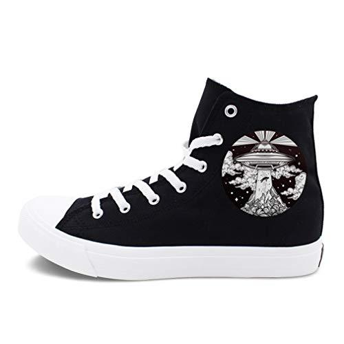 YAN Frau männer Liebhaber Schuhe Unisex Lace-up Schule Schwarz Stiefeletten Schuhe Casual High Top Canvas Sportschuhe Wanderschuhe (Farbe : Schwarz, Größe : 49) -