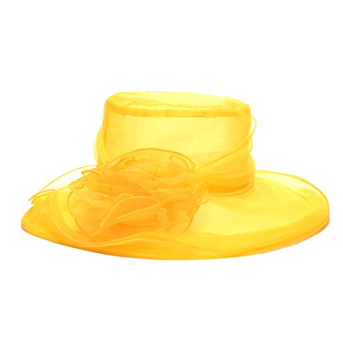 Tininna donne large wide brim fiore organza cappello cappelli di spiaggia chiesa festa di matrimonio cappello giallo