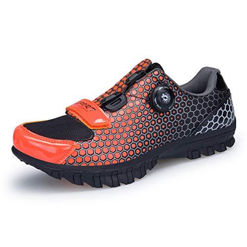 ZWYY Radschuhe, Unisex Mountainbike-Schuhe Microfiber Maschen atmungsaktive, verschleißfeste Straßenradschuhe,orange,42