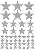 das-label Aufkleber | 46 STERNE silber | OUTDOOR glänzend | unterschiedliche Größen | Valentinstag | Weihnachten | Muttertag | Scrapbook | Geburtstag | Geschenke | zum bekleben von Autos | Tüten | Geschenkkartons | selbstklebende Markierungspunkte