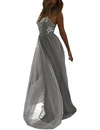 0c09c0546b25e Vestiti da Ballo Lunghi Festivo Elegante Abito Estivi Abiti da Cerimonia  Bretella V Collo Senza Spalline Senza Vestiti…