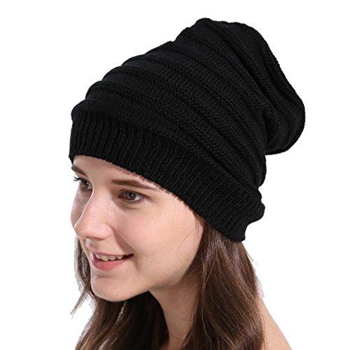Amlaiworld Damen Gemütlich gestreift Mützen Winter geschenk Strickmütze Frauen mode Crochet warm hut caps (One size, B)