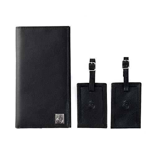 Real Madrid - Reisebörse und 2 Handgefertigte Gepäck-Etiketten mit hochwertigem Leder. Satz von 2 Artikeln. Farbe Saffiano Schwarz RMJ-80014BS -
