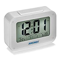 Amonev Digital Alarm Clock, LED display with Smart light, temperature and snooze features a perfect travel clock or bedroom alarm clock (White)