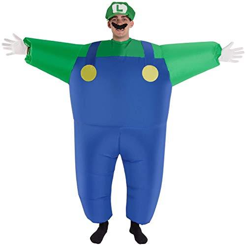 MegaMorph Luigi Riesiges Aufblasbares Kostüm Grün Super-Brüder Karneval, Halloween oder Parteien Kleidung - Einheitsgröße (Grüne Aufblasbare Kostüm)