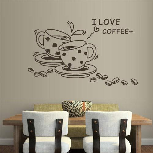 Kaffee Wandtattoo Ich liebe Kaffee Tassen Bohnen Caf¨¦ Aufkleber K¨¹che Wanddekoration Bar Restaurant Dekorationen Vinyl Aufkleber Decal Curly Cup Hot Z1073 Caf ? Cup