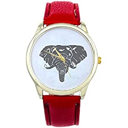 Mallom® New Arrival Women Elephant Printing Pattern Weaved Leather Quartz Dial Watch