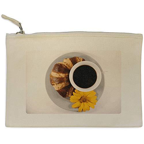 Stamp Press 'Kaffee und Croissant' Clutch / Makeup-Fall (CL00005949)