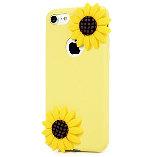 "MAXFE.CO TPU Silikon Hülle für iPhone 7 4.7"" Handyhülle Schale Etui Protective Case Cover Rück TPU Kantenschutz Schutzhülle Kaktus Sonnenblume"