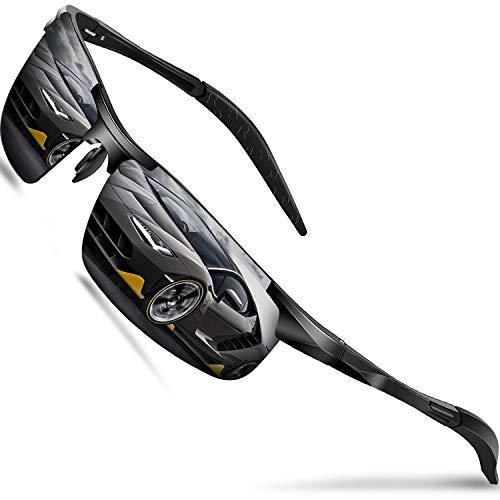 DADA-PRO Sonnenbrille Herren Sportbrille Damen Polarisiert Verspiegelt Retro Fahren Fahrerbrille UV400 Schutz für Autofahren Reisen Golf Party und Freizeit (Schwarz Neu/Nicht Vespiegelte Linse) -