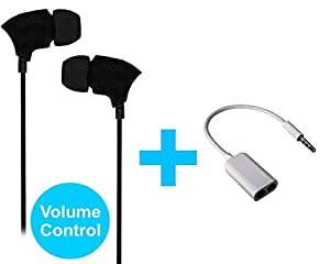Value Combo Of Volume Control Switch Earphones Handsfree and Splitter Cable Compatible For Alcatel OneTouch Idol 3C -Black