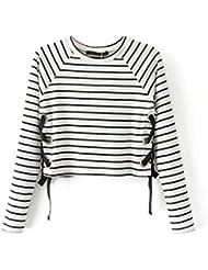 Babysbreath Lado de las mujeres Lace Up Striped Short Sudadera O-cuello de manga larga de otoño Pullover Casual Tops S
