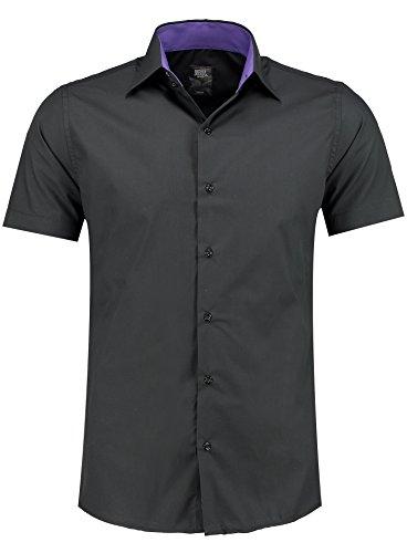 Jeel Herren-Hemd – Slim-Fit – Bügelleicht – Business, Hochzeit, Freizeit – Kurzarm-Hemd für Männer 105 Schwarz M