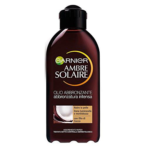 Garnier ambre solaire protezione solare, olio abbronzante, risultato abbronzatura intensa ip2 al profumo di cocco, 200 ml