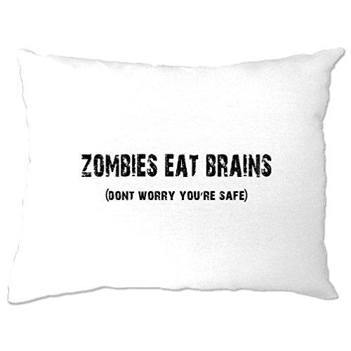 Halloween Kissenbezuge Zombies essen Gehirne du bist sicher White One Size