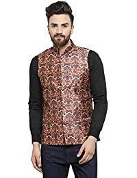 a2024d3dde4 Ben Martin Men's Dupion Silk Nehru Jacket Waistcoat-(BM-WS-Printed-