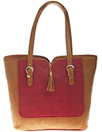 Aliado Faux Leather Solid Beige Zipper Closure Tote Bag For Women For Women