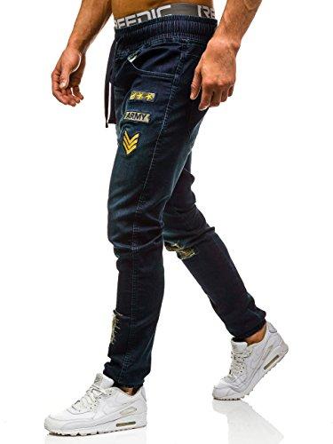 BOLF Herren Jeanshose Sporthose Slim Fit Casual Clubwear Denim Army 6F6 Motiv Dunkelblau