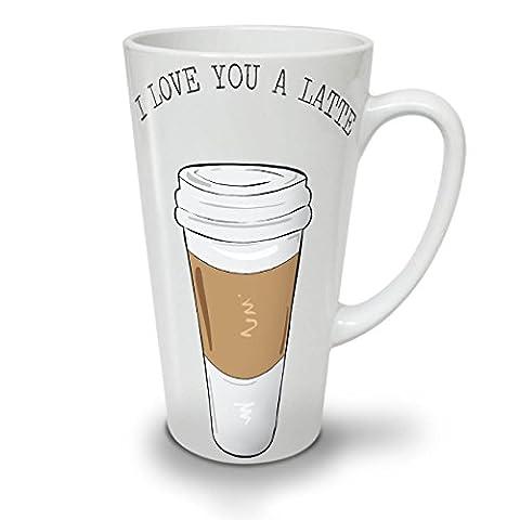 I Love You Latte Fashion White Ceramic Latte Mug 17 oz | Wellcoda