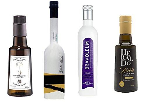 2.- Pack gourmet de 4 aceites oliva virgen extra de 250 ml cada botella: Escornalbou, Heraldo Noble, Claramunt Frantoio y Bravoleum arbequina. Desde oleumbox te presentamos estos 4 excelentes aceites con aromas y sabores intensos.