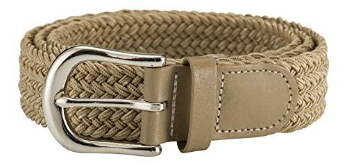 Streeze Cinturón 30mm Elástico. 6 Tamaños de Pequeño a 3XL. Trenzado, con Correa Trenzada y Hebilla Plateada (Beige, S)