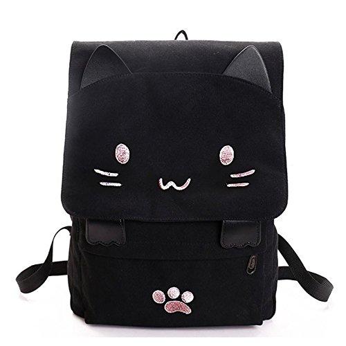 SODIAL Bolsa de estudiante de lona de bordado de gato lindo de moda Mochila de mujer de dibujos animados Bolsa de escuela de ocio negro & rosado
