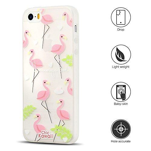 Coque iPhone 5S , Etui iPhone SE TPU Case Silicone Transparente Slim Souple Étui de Protection Flexible Soft Cover avec Motif Spécial Anti Choc Ultra Mince Integrale Couverture Bumper Caoutchouc Gel A Flamingo 1