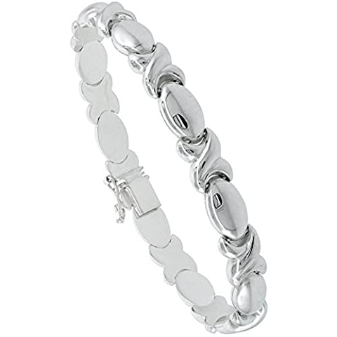 Revoni Sterling Silver Stampato Chain 8 in. XOXO Link Hugs