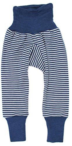 Cosilana Baby Hose lang mit Bund, Größe 74/80, Farbe Marine geringelt, 70 % Merinoschurwolle, 30 % Seide