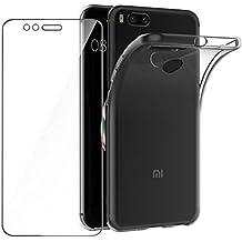 Funda + Cristal para Xiaomi Mi A1, Leathlux Transparente TPU Silicona [Funda + Vidrio Templado] Ultra Fino Protector de Pantalla 9H Dureza HD y Flexible ...