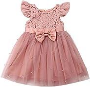 Loalirando Vestito Principessa Bambina Abito in Tulle Rosa Elegante Bowknot Indietro Senza Schienale Tutu Bamb