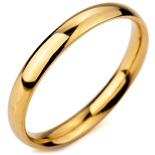 MunkiMix Ancho 3mm Acero Inoxidable Anillo Ring Banda Venda Oro Dorado Tono Alianzas Boda Talla Tamaño 17 Hombre,Mujer