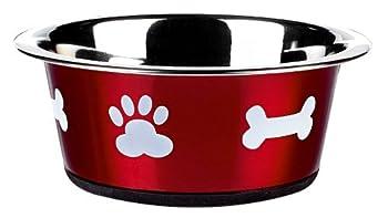 Classic Pet Products Gamelle classique Motif pattes Rouge 900 ml