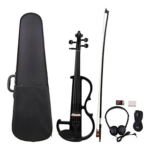 yibuy schwarz Holz 4/4voller Größe Elektrische Violine mit Koffer und Bogen Set