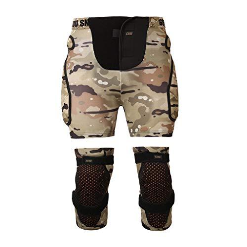 Baoblaze Schutzhosen Gepolsterte Protektorhosen Protektorshort Snowboard Shorts Sporthose mit Knieschoner Unisex Knie-Protektoren - Grün L XL
