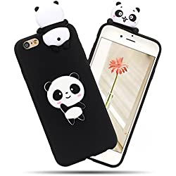 Funda iPhone 6 Plus / 6S Plus, iPhone 6 Plus Funda Silicona, SpiritSun Soft Carcasa Funda iPhone 6S Plus Kawaii 3D Diy Case Carcasa Goma Flexible Ultrafina TPU Bumper Shock- Absorción y Anti-arañazos Parachoques Protectora Carcasa para iPhone 6 Plus / 6S Plus (5.5 pulgadas) - Panda Black