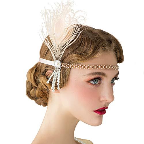 SWEETV 1920er Jahre Stirnband Flapper Headpiece der große Gatsby inspiriert Kostüm Party Accessoreis Champagne Roaring 20er Jahre Zubehör für ()