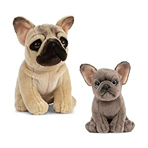 Living Nature Nature-AN496 Peluche de Perro y Cachorro, Color Brown & Grey, Paquete (Keycraft AN496