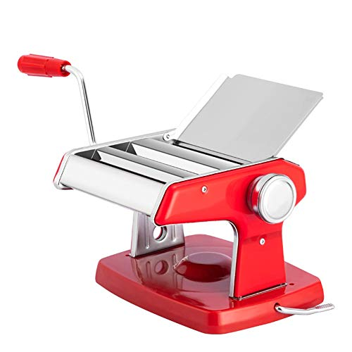 CRJT Shop Small Hand Crank Pasta Maker, Suction Cup Stainless Steel Manual Noodle Cutter Easy to Use for Fresh Homemade Fettuccine Spaghetti Lasagne Dough Roller Press Cutter (Color : Red)